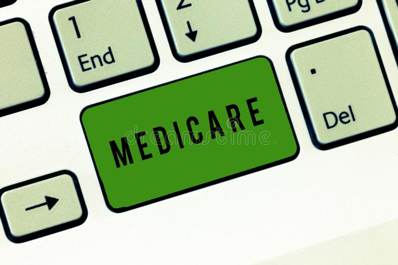 Conceptual hand writing showing Medicare. Business photo showcasing federal government plan in us for paying certain. Hospital royalty free stock photography