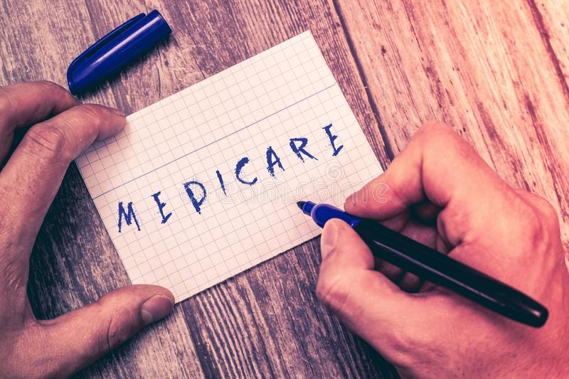 Conceptual hand writing showing Medicare. Business photo showcasing federal government plan in us for paying certain. Hospital royalty free stock photos