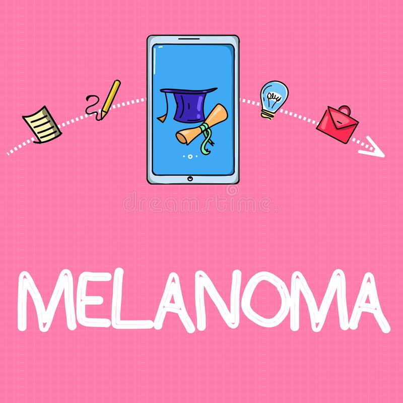 Conceptual hand writing showing Melanoma. Business photo text A malignant tumor associated with skin cancer Benign moles.  royalty free illustration