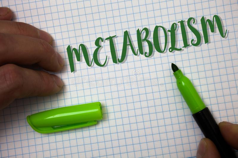 Conceptual hand writing showing Metabolism. Business photo text Chemical processes in body to produce energy food processing Box b. Ackground pen cap marker stock photos