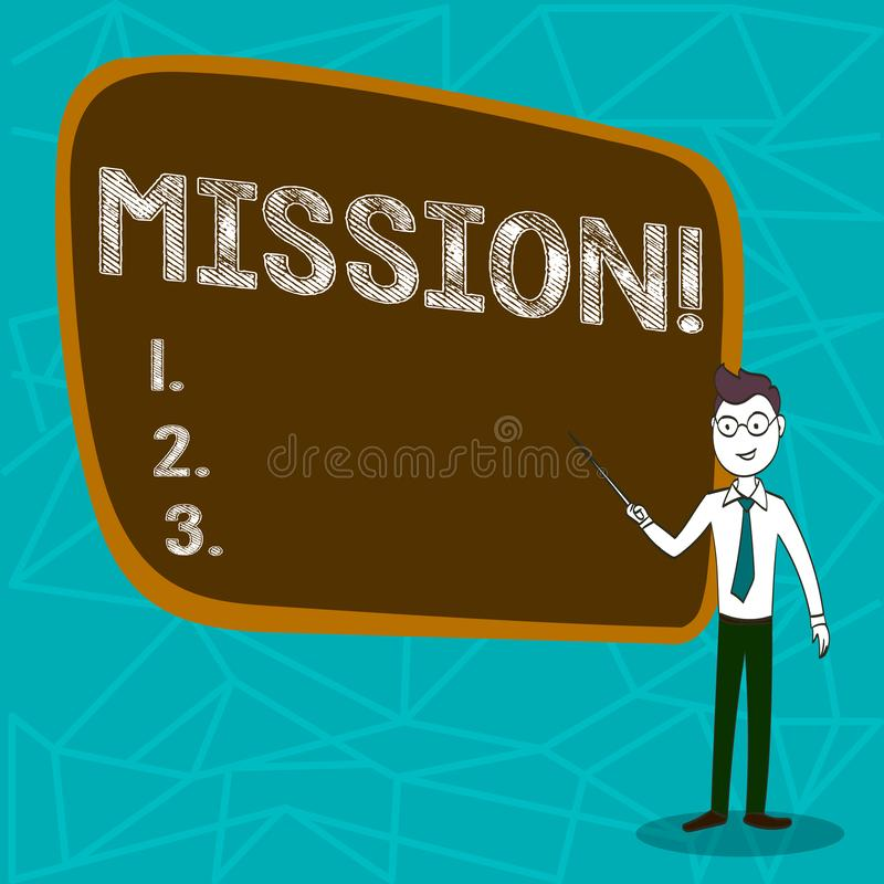 Conceptual hand writing showing Mission. Business photo showcasing Corporate goal Important Assignment Business purpose. And focus stock illustration