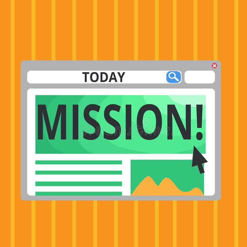 Conceptual hand writing showing Mission. Business photo text Corporate goal Important Assignment Business purpose and. Focus vector illustration