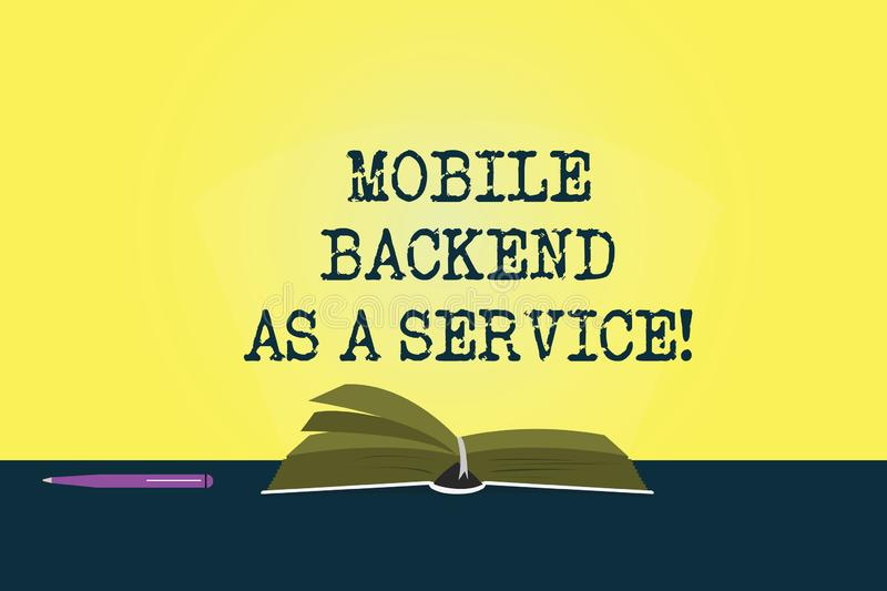 Conceptual hand writing showing Mobile Backend As A Service. Business photo showcasing Mbaas Link web and mobile apps to. Cloud storage Color Pages of Book on royalty free illustration
