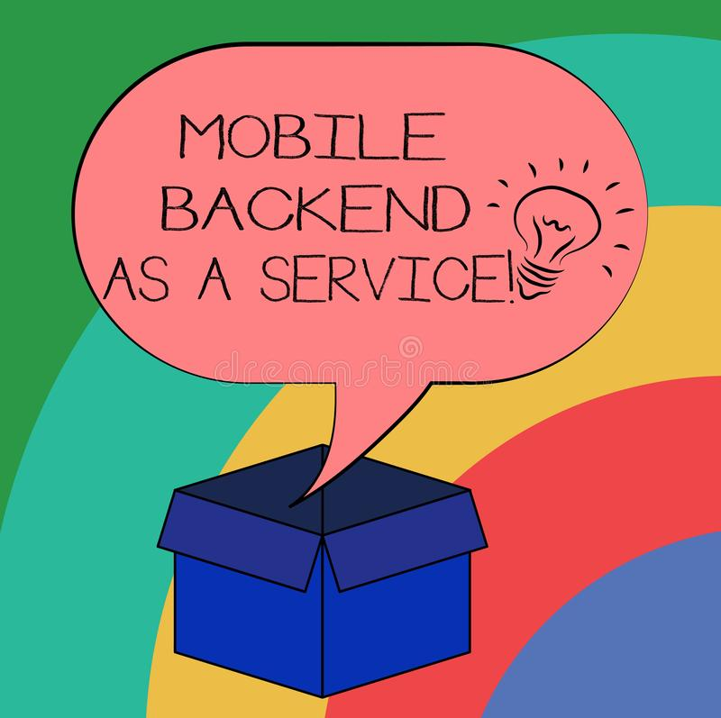 Conceptual hand writing showing Mobile Backend As A Service. Business photo text Mbaas Link web and mobile apps to cloud. Storage Idea icon in Blank Halftone stock illustration