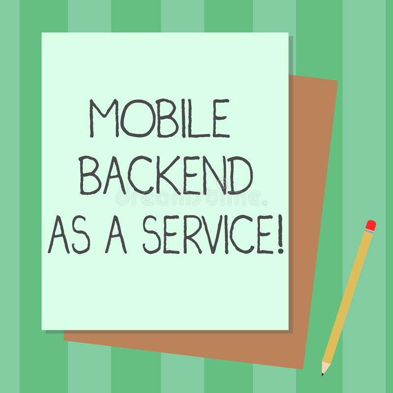Conceptual hand writing showing Mobile Backend As A Service. Business photo text Mbaas Link web and mobile apps to cloud storage. Stack of Different Pastel royalty free illustration