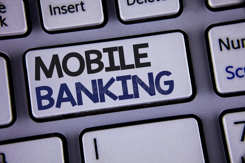 Conceptual hand writing showing Mobile Banking. Business photo showcasing Online Money Payments and Transactions Virtual Bank Text. Two words backspace button royalty free stock photo