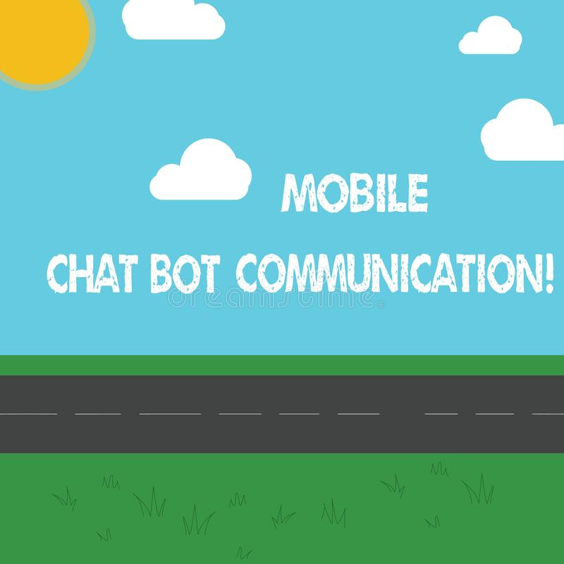 Conceptual hand writing showing Mobile Chat Bot Communication. Business photo showcasing Artificial Intelligence Digital service. Outdoor Scenery photo Peaceful royalty free stock images