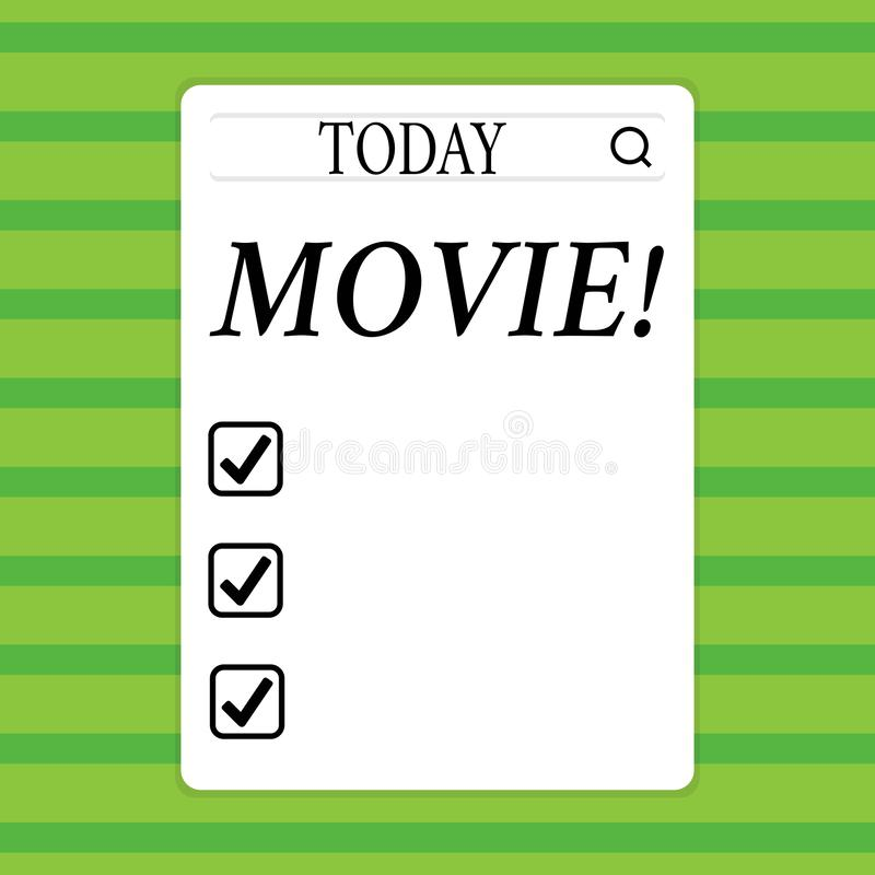 Conceptual hand writing showing Movie. Business photo showcasing Cinema or television film Motion picture Video. Conceptual hand writing showing Movie. Concept royalty free illustration