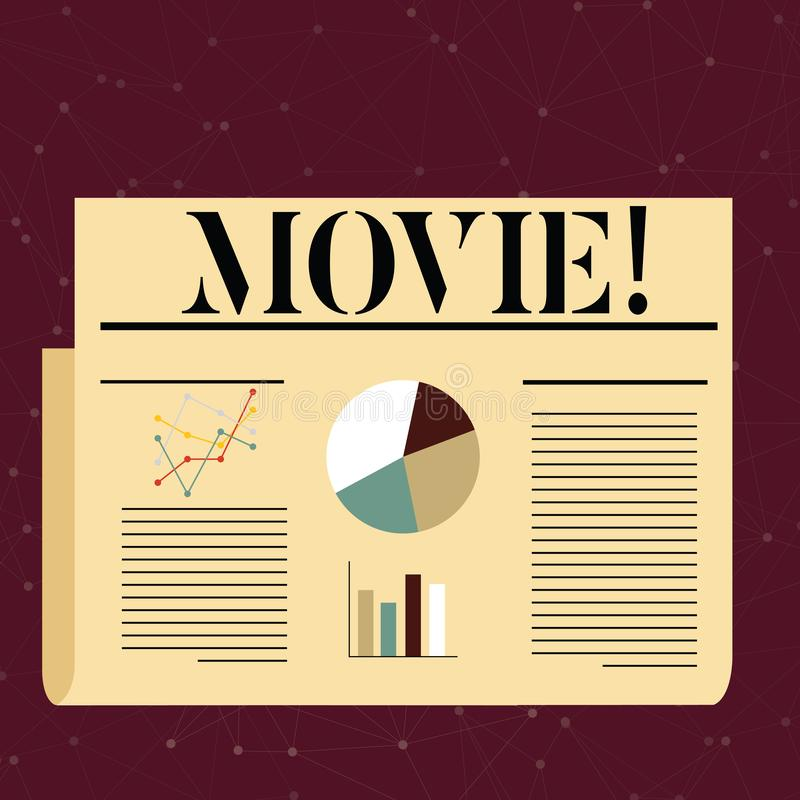 Conceptual hand writing showing Movie. Business photo text Cinema or television film Motion picture Video displayed on. Conceptual hand writing showing Movie royalty free illustration