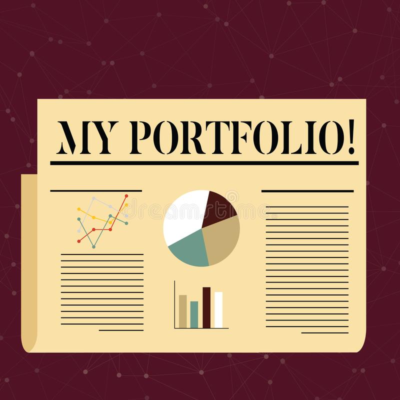 Conceptual hand writing showing My Portfolio. Business photo text Samples of work Art drawings photography Colorful. Conceptual hand writing showing My Portfolio royalty free illustration