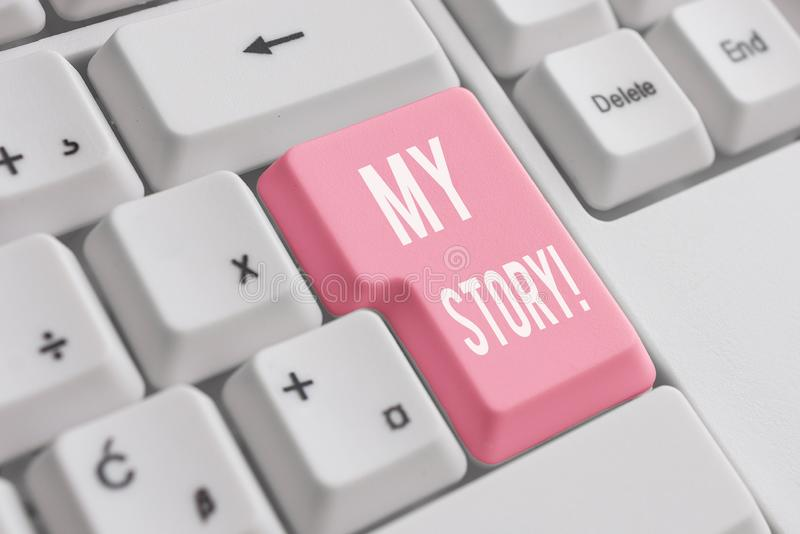 Conceptual hand writing showing My Story. Business photo showcasing your past life events actions or choices you made. Conceptual hand writing showing My Story royalty free stock photo
