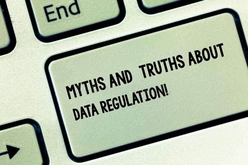 Conceptual hand writing showing Myths And Truths About Data Regulation. Business photo showcasing Media information royalty free stock image