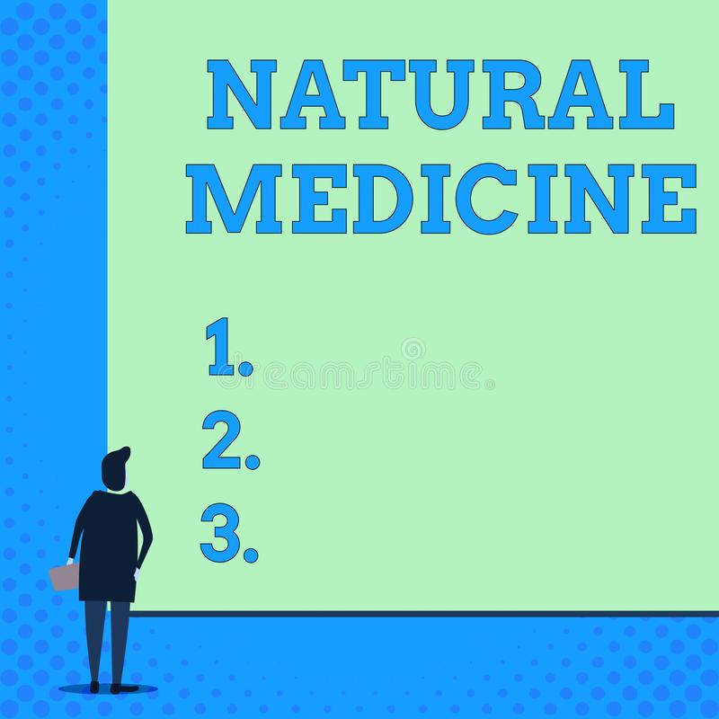 Conceptual hand writing showing Natural Medicine. Business photo showcasing any of various systems of healing or. Conceptual hand writing showing Natural vector illustration