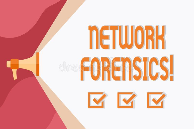 Conceptual hand writing showing Network Forensics. Business photo showcasing monitoring and analysis of computer network. Conceptual hand writing showing Network royalty free illustration