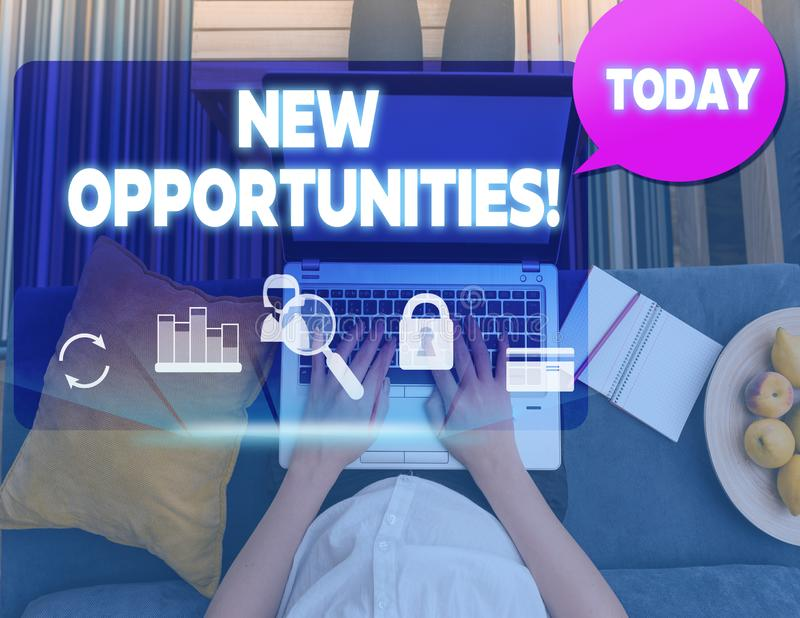 Conceptual hand writing showing New Opportunities. Business photo text exchange views condition favorable for attainment. Conceptual hand writing showing New royalty free stock image