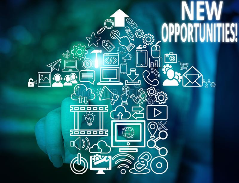 Conceptual hand writing showing New Opportunities. Business photo text exchange views condition favorable for attainment. Conceptual hand writing showing New stock image