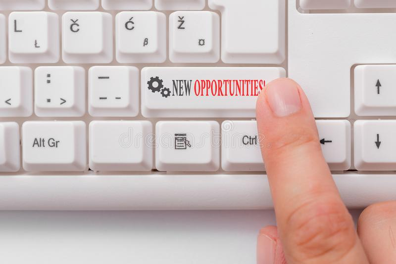 Conceptual hand writing showing New Opportunities. Business photo text exchange views condition favorable for attainment. Conceptual hand writing showing New royalty free stock images