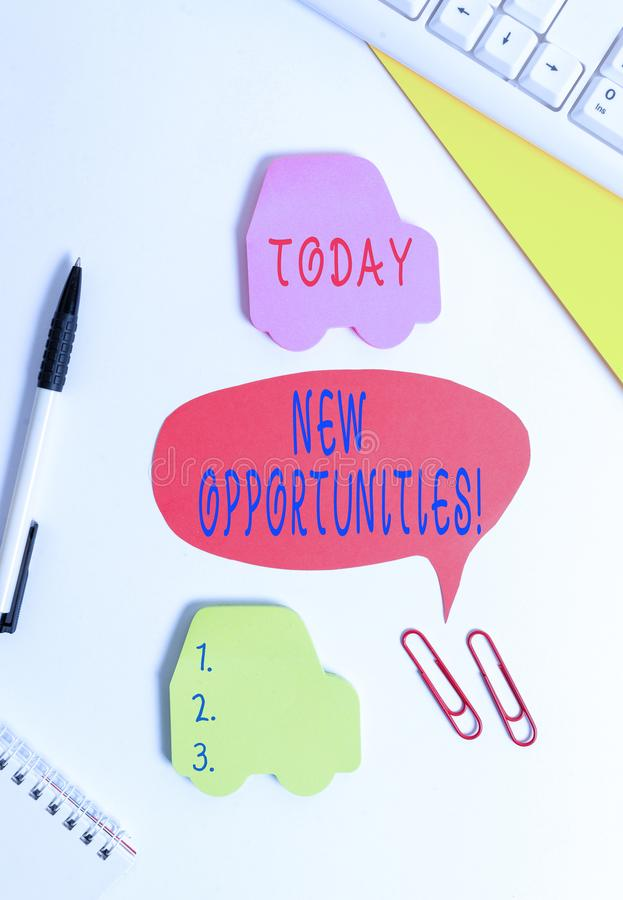 Conceptual hand writing showing New Opportunities. Business photo showcasing exchange views condition favorable for attainment. Conceptual hand writing showing royalty free stock photography