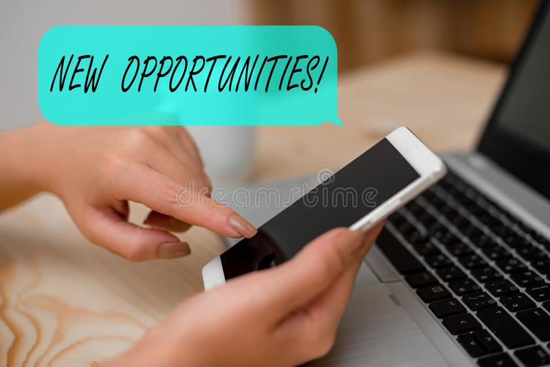 Conceptual hand writing showing New Opportunities. Business photo text exchange views condition favorable for attainment. Conceptual hand writing showing New stock images