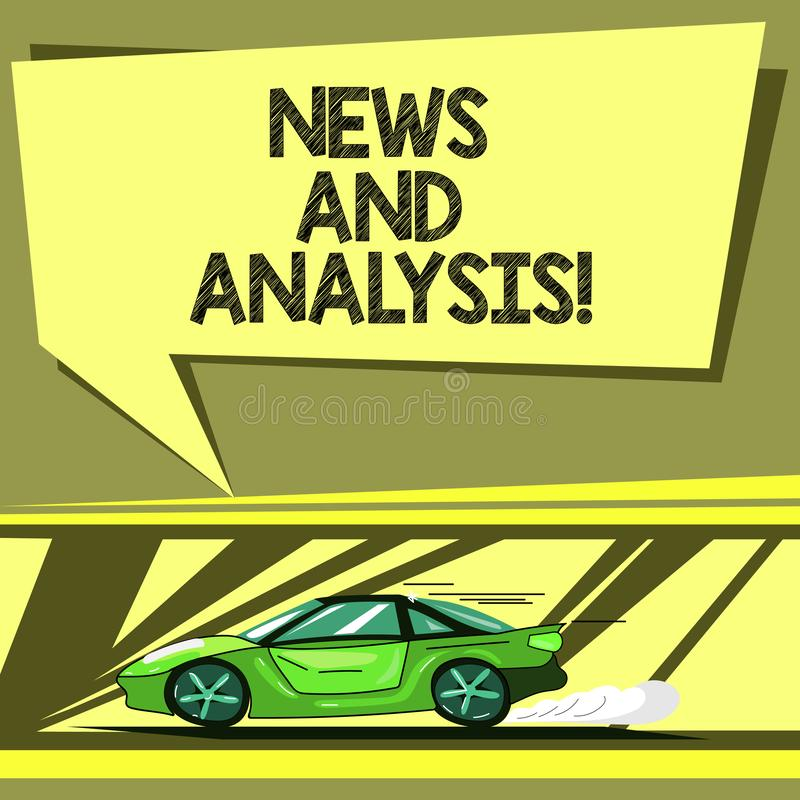 Conceptual hand writing showing News And Analysis. Business photo showcasing measurement of various qualitative and. Quantitative Car with Fast Movement icon vector illustration