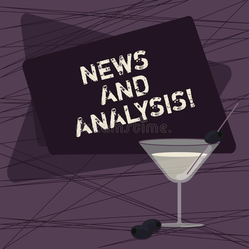 Conceptual hand writing showing News And Analysis. Business photo showcasing measurement of various qualitative and. Quantitative Filled Cocktail Wine Glass stock illustration