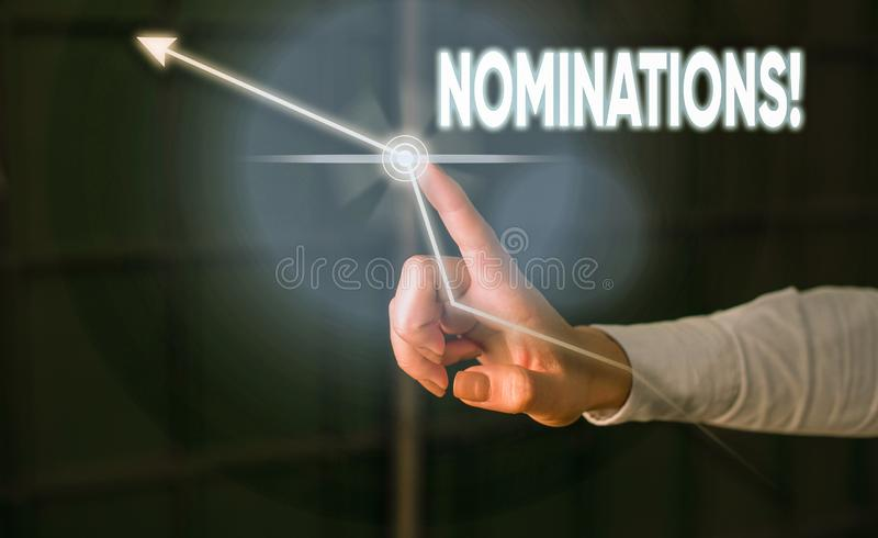 Conceptual hand writing showing Nominations. Business photo showcasing action of nominating or state being nominated for. Conceptual hand writing showing stock image