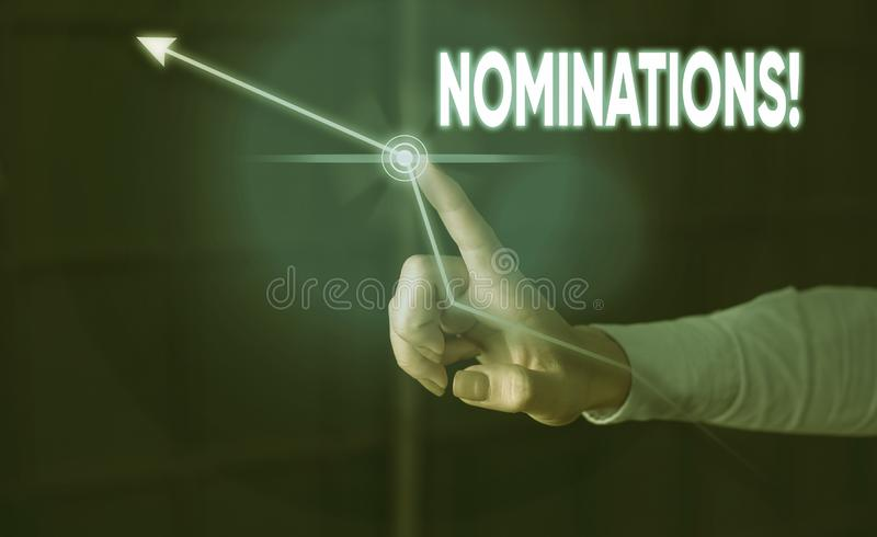Conceptual hand writing showing Nominations. Business photo showcasing action of nominating or state being nominated for. Conceptual hand writing showing stock images