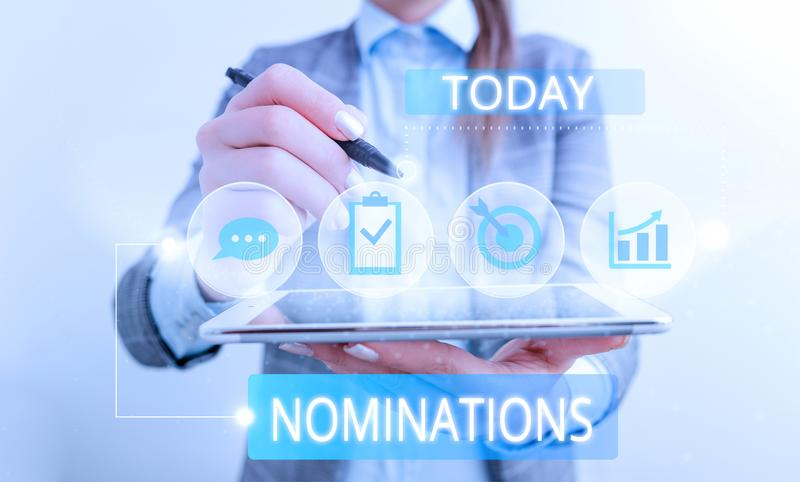 Conceptual hand writing showing Nominations. Business photo text the act of officially suggesting someone for a job or royalty free stock photo