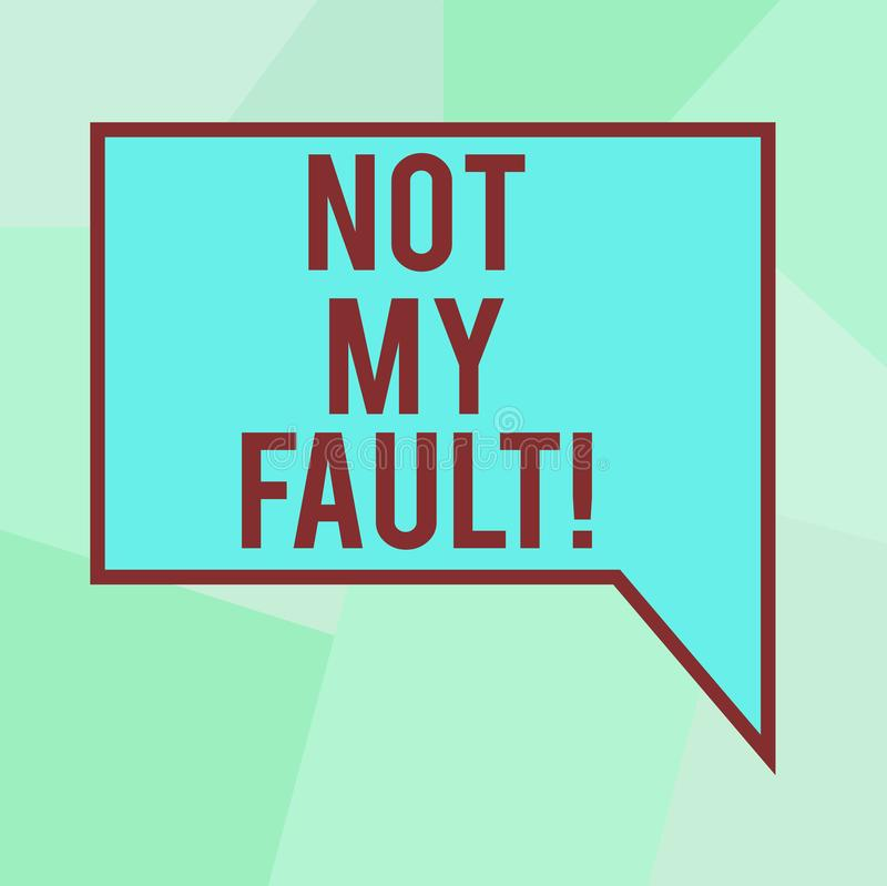 Conceptual hand writing showing Not My Fault. Business photo text To make excuses to avoid being accused for a mistake error Blank. Deformed Color Round Shape vector illustration