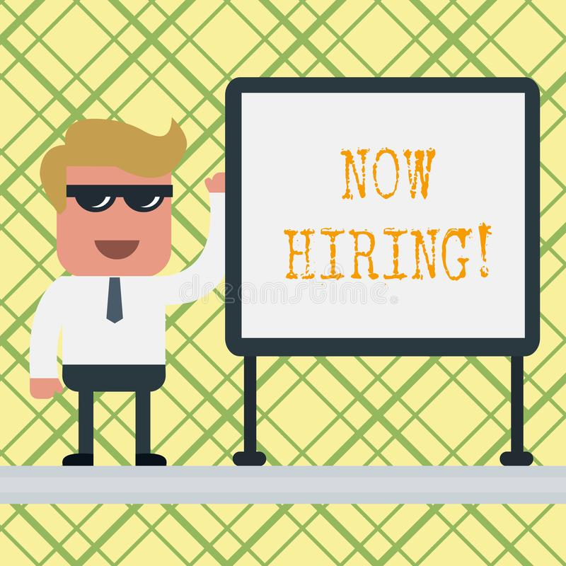 Conceptual hand writing showing Now Hiring. Business photo text finding evaluating working relationship with future. Conceptual hand writing showing Now Hiring stock illustration