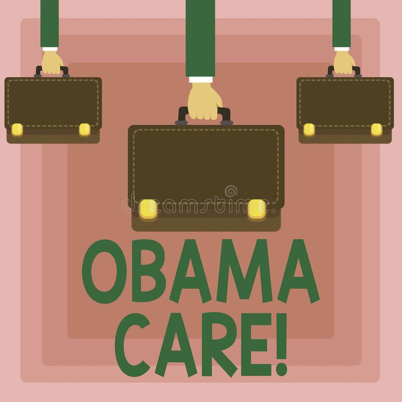 Conceptual hand writing showing Obama Care. Business photo showcasing Government Program of Insurance System Patient Protection. Conceptual hand writing showing royalty free illustration