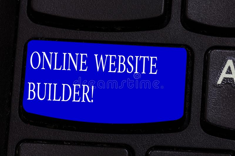 Conceptual hand writing showing Online Website Builder. Business photo text Program or tool that help you construct a royalty free stock photos