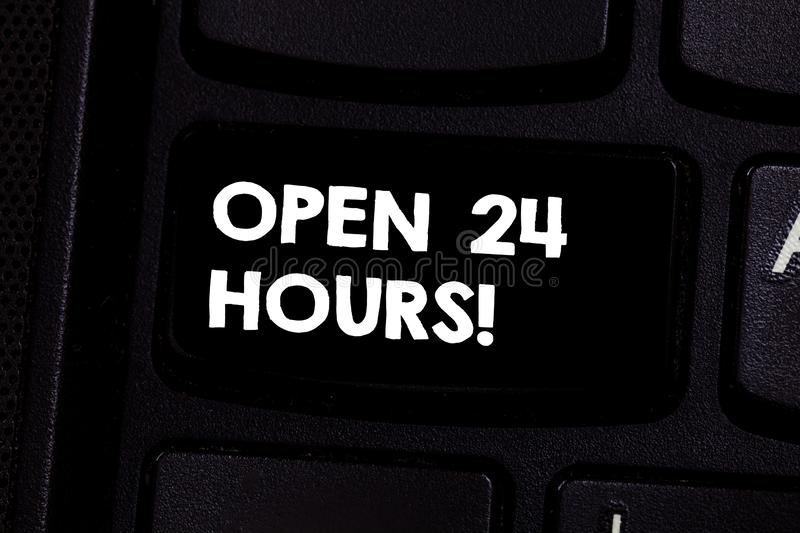 Conceptual hand writing showing Open 24 Hours. Business photo text Working all day everyday business store always. Operating Keyboard key Intention to create royalty free stock images