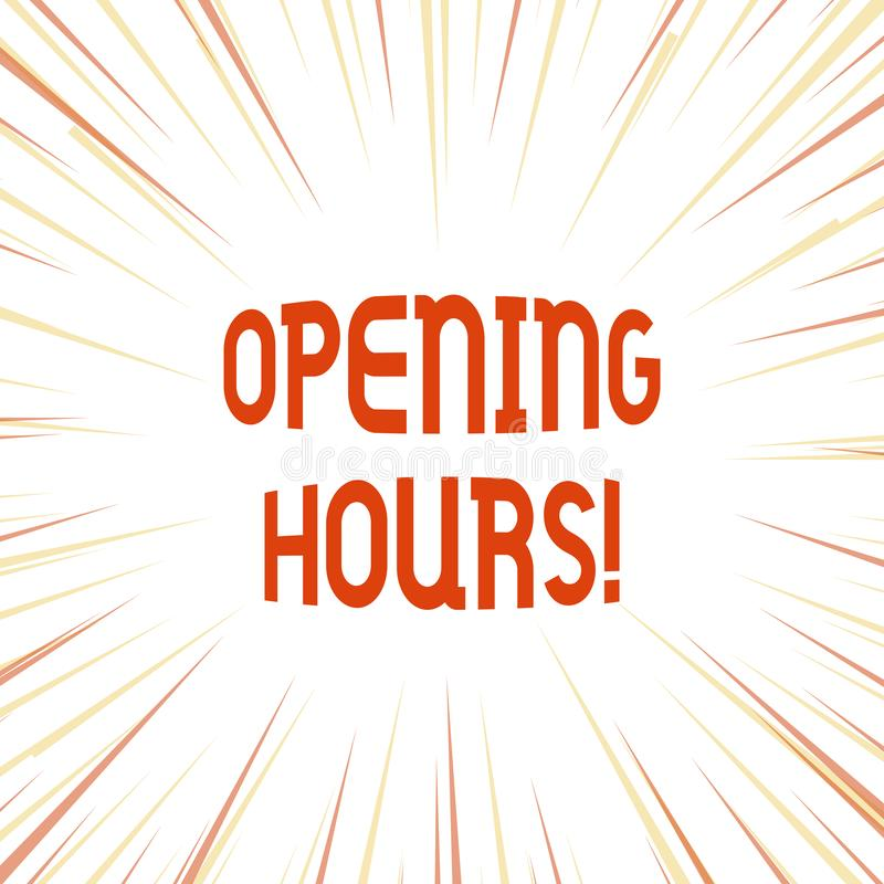 Conceptual hand writing showing Opening Hours. Business photo showcasing the time during which a business is open for. Conceptual hand writing showing Opening vector illustration