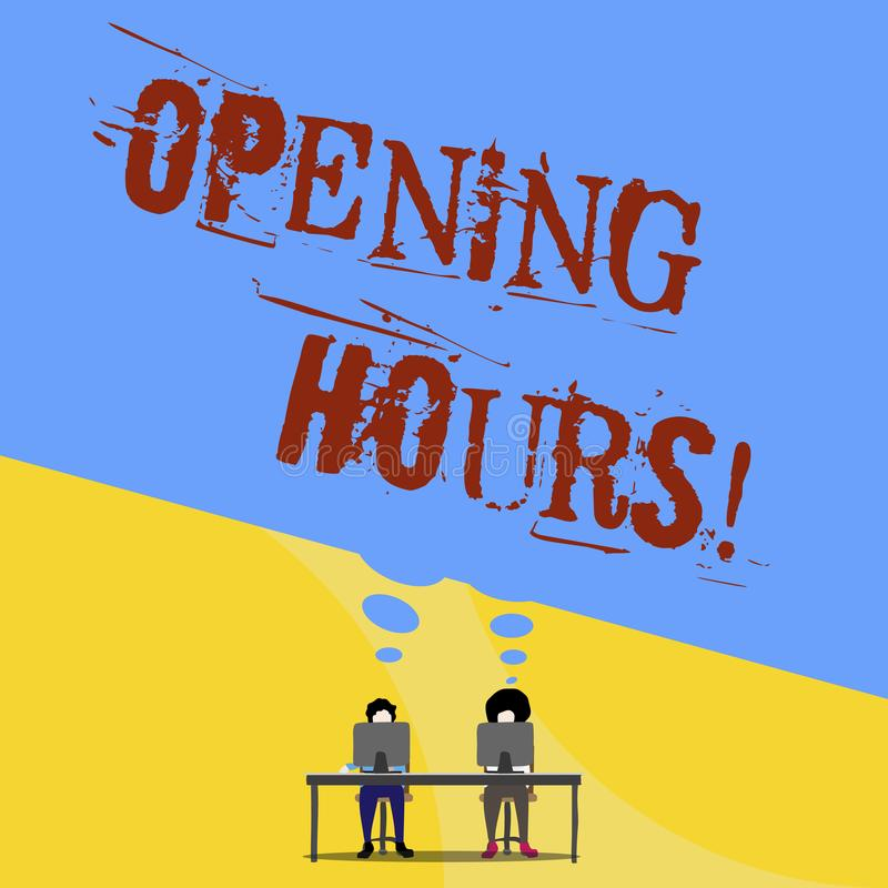 Conceptual hand writing showing Opening Hours. Business photo text the time during which a business is open for. Conceptual hand writing showing Opening Hours royalty free illustration