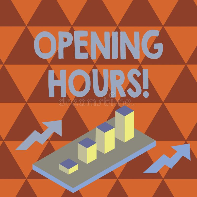 Conceptual hand writing showing Opening Hours. Business photo text the time during which a business is open for. Conceptual hand writing showing Opening Hours stock illustration