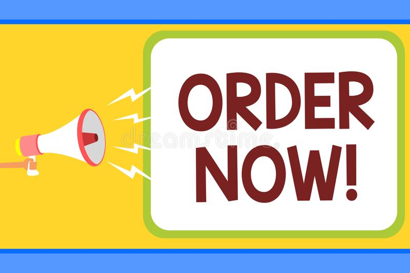 Conceptual hand writing showing Order Now. Business photo text service restaurants or stores provide to get what you need home Man royalty free illustration