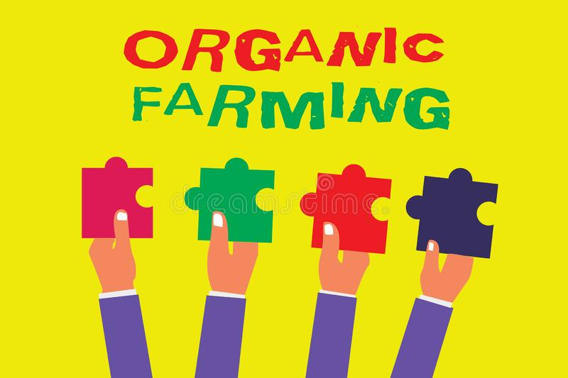 Conceptual hand writing showing Organic Farming. Business photo showcasing an integrated farming system that strives for sustainab. Ility stock illustration
