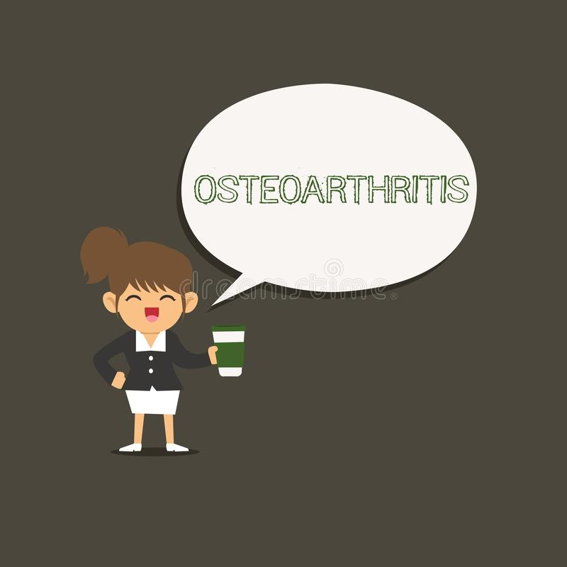 Conceptual hand writing showing Osteoarthritis. Business photo showcasing Degeneration of joint cartilage and the royalty free illustration