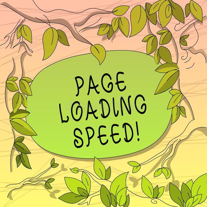 Conceptual hand writing showing Page Loading Speed. Business photo showcasing time it takes to download and display. Content of web Tree Branches Scattered with vector illustration