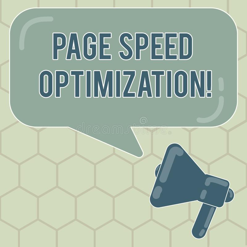 Conceptual hand writing showing Page Speed Optimization. Business photo text Improve the speed of content loading in a. Webpage Megaphone and Rectangular Color royalty free illustration