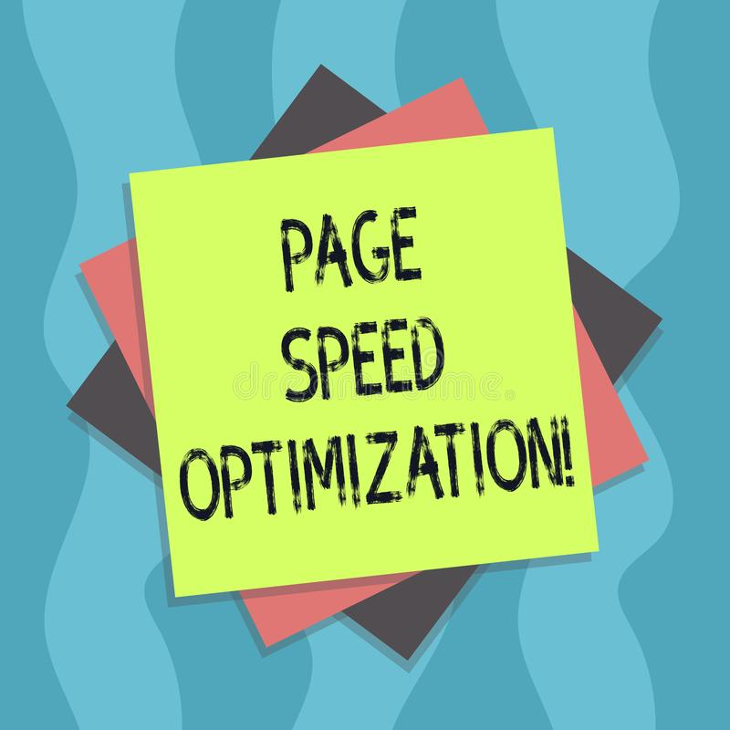 Conceptual hand writing showing Page Speed Optimization. Business photo text Improve the speed of content loading in a. Webpage Multiple Layer of Sheets Color stock illustration