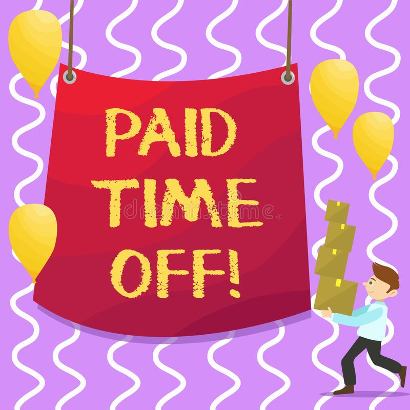 Conceptual hand writing showing Paid Time Off. Business photo showcasing vacation with full payment take vacation. Resting Healing stock illustration