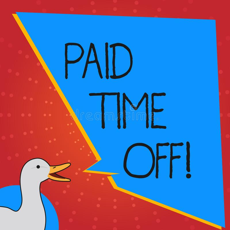 Conceptual hand writing showing Paid Time Off. Business photo text vacation with full payment take vacation Resting. Healing vector illustration