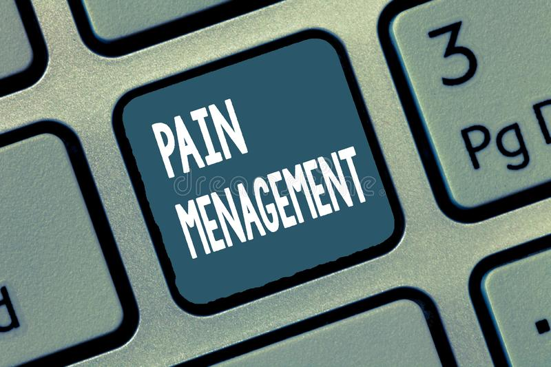 Conceptual hand writing showing Pain Management. Business photo showcasing a branch of medicine employing an. Interdisciplinary approach stock photography
