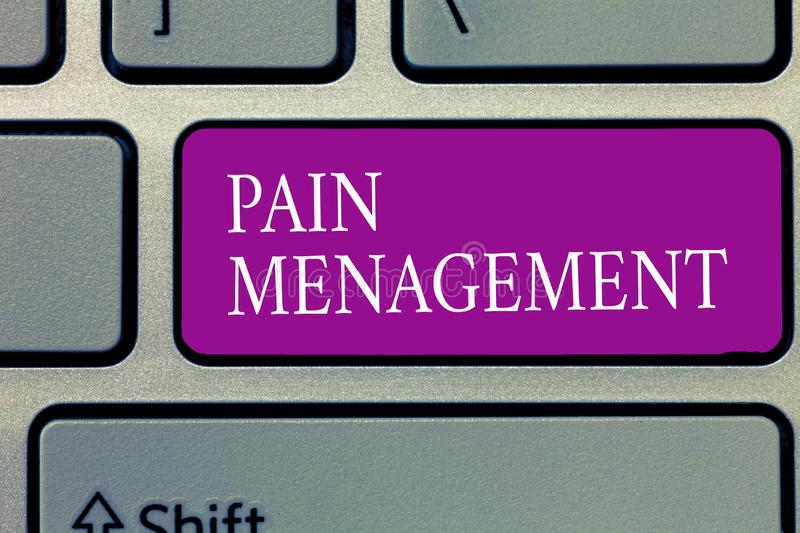 Conceptual hand writing showing Pain Management. Business photo text a branch of medicine employing an interdisciplinary. Approach stock photo