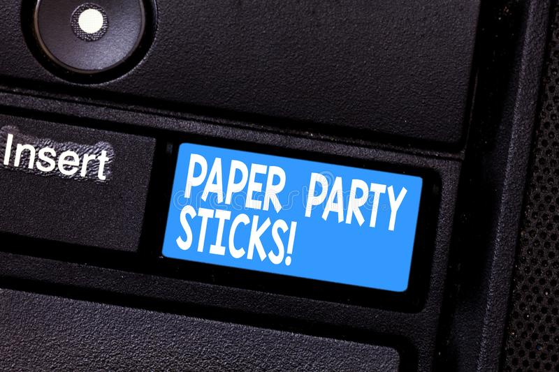 Conceptual hand writing showing Paper Party Sticks. Business photo showcasing colored shapes of hard paper used create. Emojis Keyboard key Intention to create stock photos