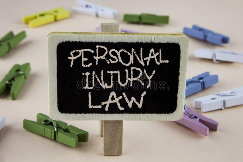 Conceptual hand writing showing Personal Injury Law. Business photo showcasing guarantee your rights in case of hazards or risks w. Ritten Wooden Notice Board royalty free stock photo