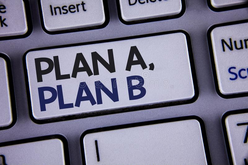 Conceptual hand writing showing Plan A, Plan B. Business photo showcasing Strategic Solutions Ideas Paths to follow to choose from. Text two words backspace royalty free stock photos