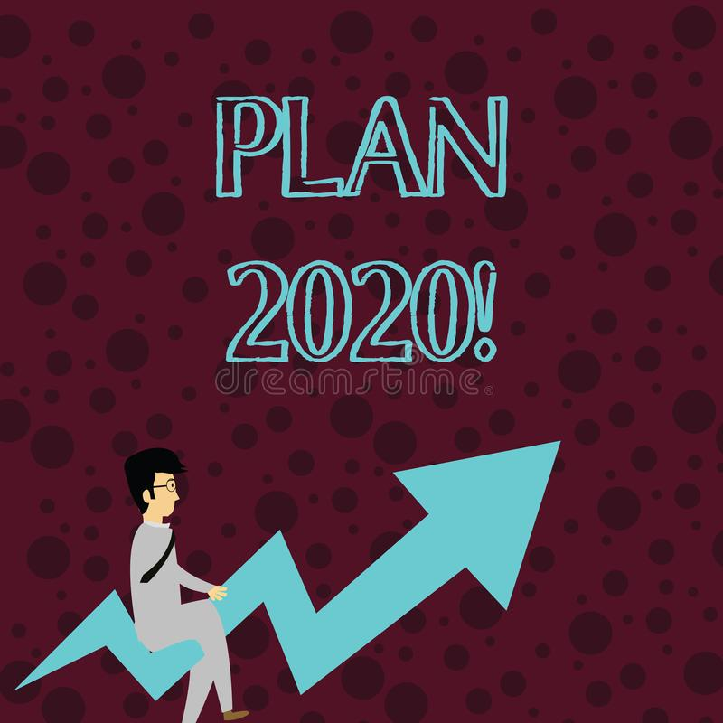 Conceptual hand writing showing Plan 2020. Business photo showcasing detailed proposal doing achieving something next. Conceptual hand writing showing Plan 2020 royalty free illustration